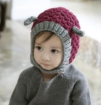 2013  Supernova Sales New cute ear ear wool handmade crochet baby boys and girls  infants and children's  for hat cap