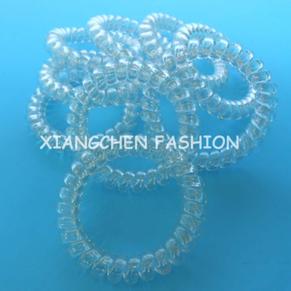 10pcs/lot L size clear crystal telephone wire rope elastic girls women hair ties bands headband ponytail holder hair accessary(China (Mainland))