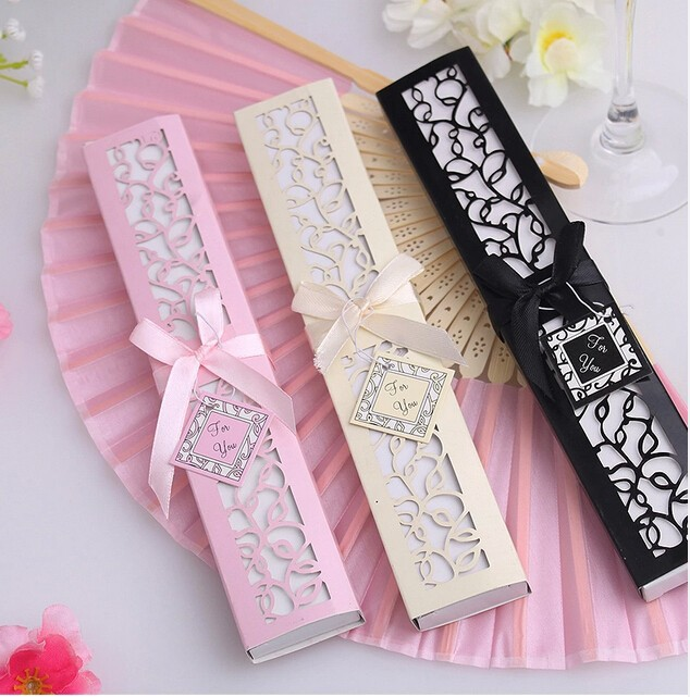 DHL ree Shipping,Wedding Favors White,Black And Pink Color Luxurious Silk Fan Wedding Fan 50 set(China (Mainland))
