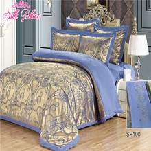 """Silk Place"" Fashion Quality Bedding Set Queen Size Jacquard Duvet Cover Bedsheet Pillowcase 4- 7pcs(China (Mainland))"