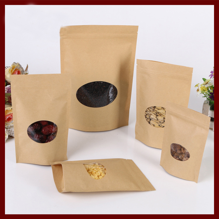 18*26+4cm 100pcs kraft paper ziplock Window bag for gift/tea/candy/jewelry/bread Packaging Paper food bag diy Packaging Bags(China (Mainland))