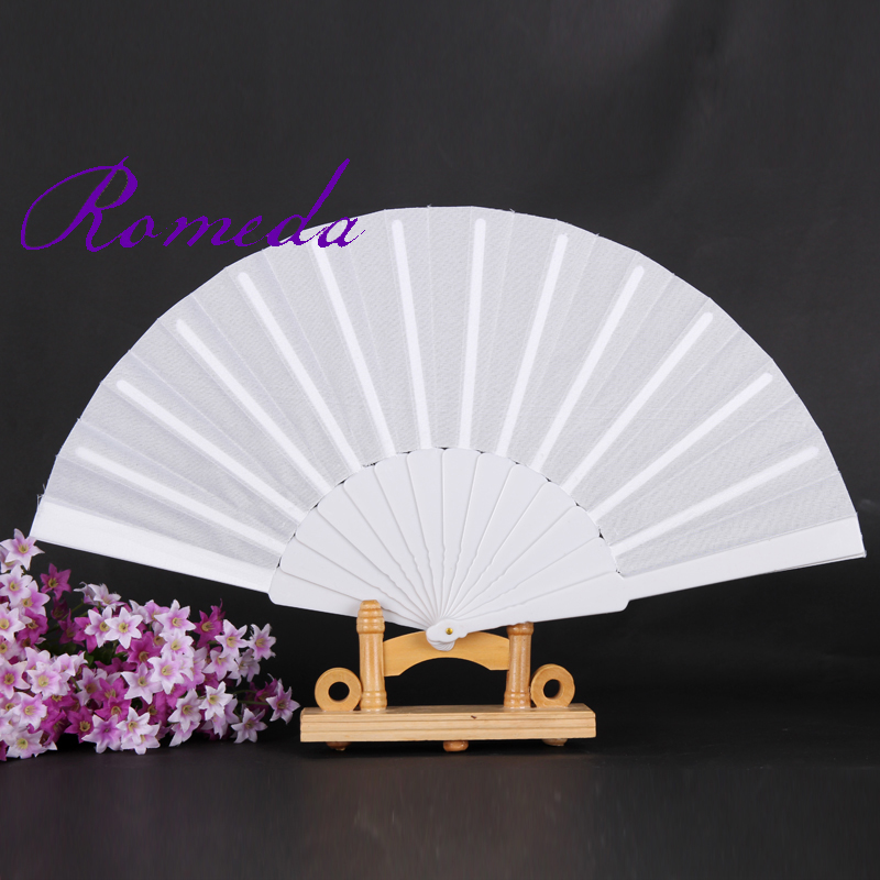 Free Shipping 50pcs/lot Hand Folding Fan with Polyester Fabric and Plastic Ribs Fan Single Sides Cloth without Any Logo Fan(China (Mainland))