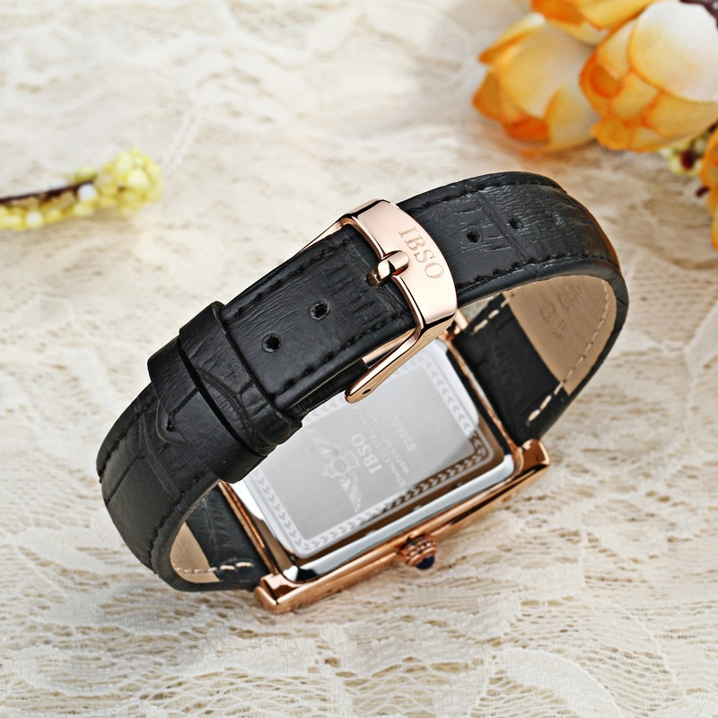 IBSO Lady Leather Waterproof Quartz Watch Watch Fashion Outdoor Sports Business Diamond Joker Watches Small Dial Watches Relogio