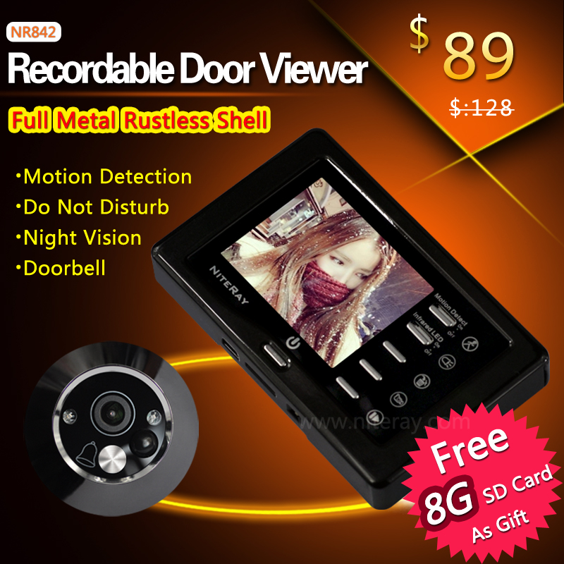 Security door camera peephole video intercom digital viewer with motion sensor support auto take photo/ video for door security(China (Mainland))
