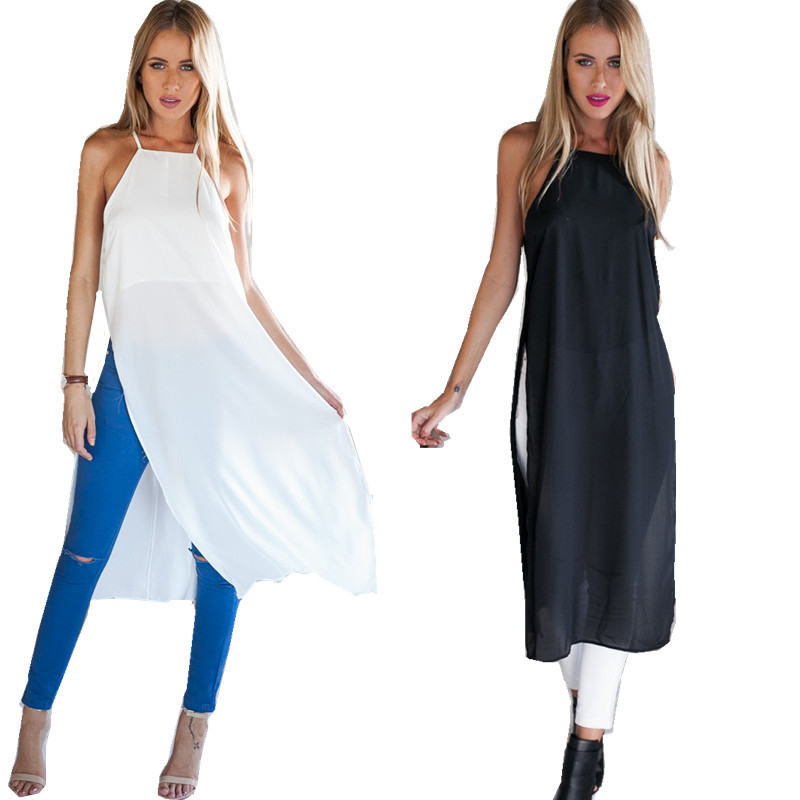 Gt50 celeb style new womens sexy hatler neck down slit for Women s button down shirts extra long