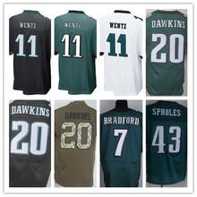 Cheap men's jersey,Elite 11 Wentz 7 Bradford 20 Dawkins 43 Sproles 91 Cox Jerseys,Size M-XXXL,Best Quality,Authentic Jersey(China (Mainland))