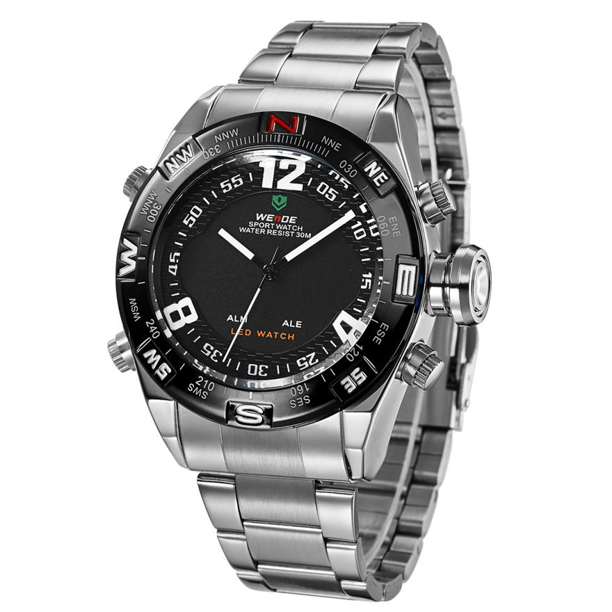 2014 men sports military watches huge crown touch screen dual movement multifunction men full steel led quartz watch(China (Mainland))