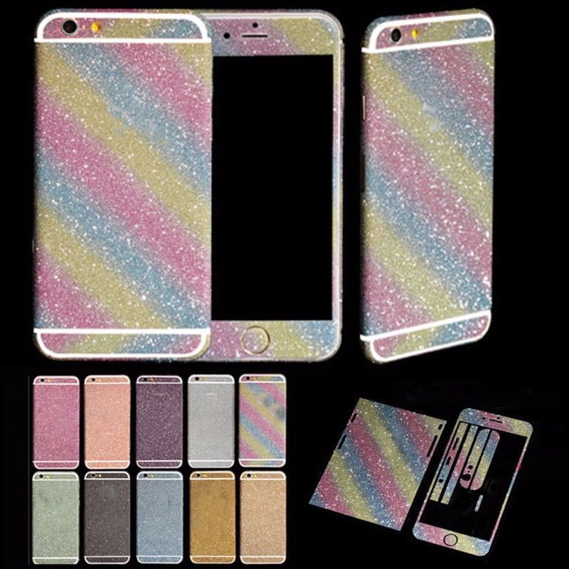 Luxurious Bling Diamond Full Body Matte Decal Back & Front Glitter Back Film Sticker Case Cover Skin For Apple iPhone 4 4S(China (Mainland))