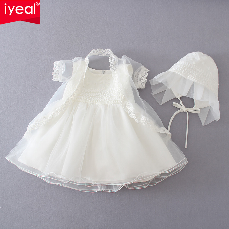 Wedding Baby Flower Girls Christening Pageant Party Baptism Dresses With Shwal and Hat Infant Newborn Princess Clothing 3 PCS(China (Mainland))