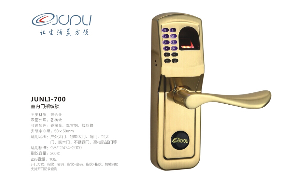 Free Shipping Fingerprint Door Lock Best quality Easy To Install --Fingerprint + password + keys(China (Mainland))