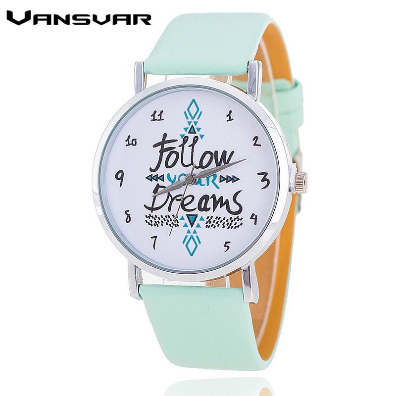 Vansvar Fashion Women Watches Leather Strap Follow Your Dreams Watch Casual Wrist Watches Reloj Mujer Relogio Feminino 1651(China (Mainland))
