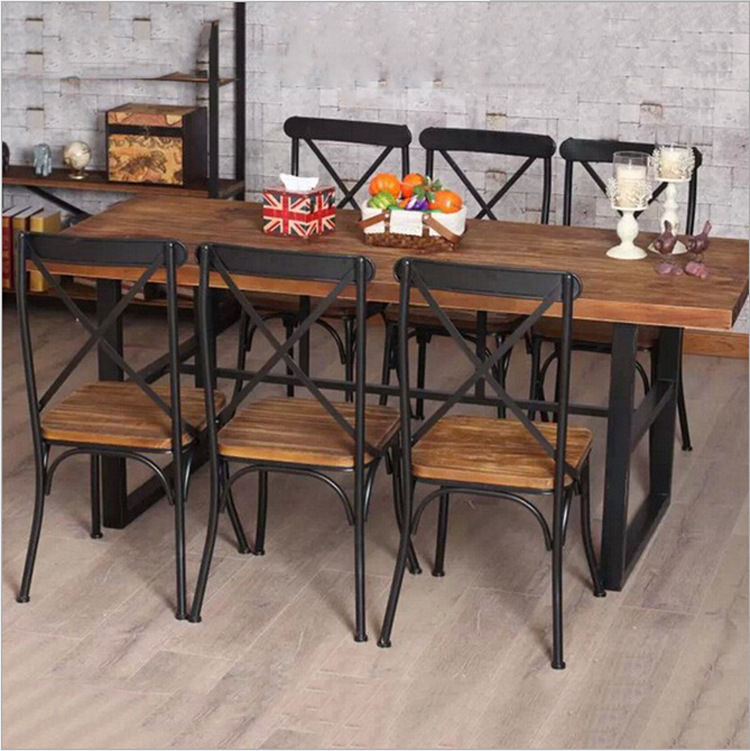 Cheap American country retro wood furniture, wrought iron table in the restaurant the family dinner table dinette combination Fe<br><br>Aliexpress