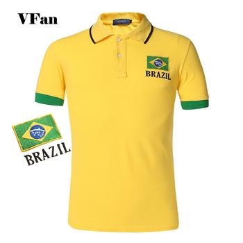 2015 лето мужчины футболка поло флаг стиль черно-желто-белый Большой размер вышивка ...