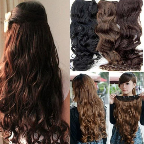 Гаджет  One Piece Clip in Synthetic Human Hair Extensions Long Wavy Curly Hair 5 Clips   None Волосы и аксессуары
