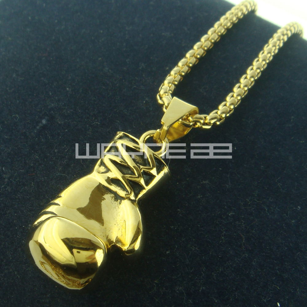 18k gold gf stainless steel boxing glove pendant