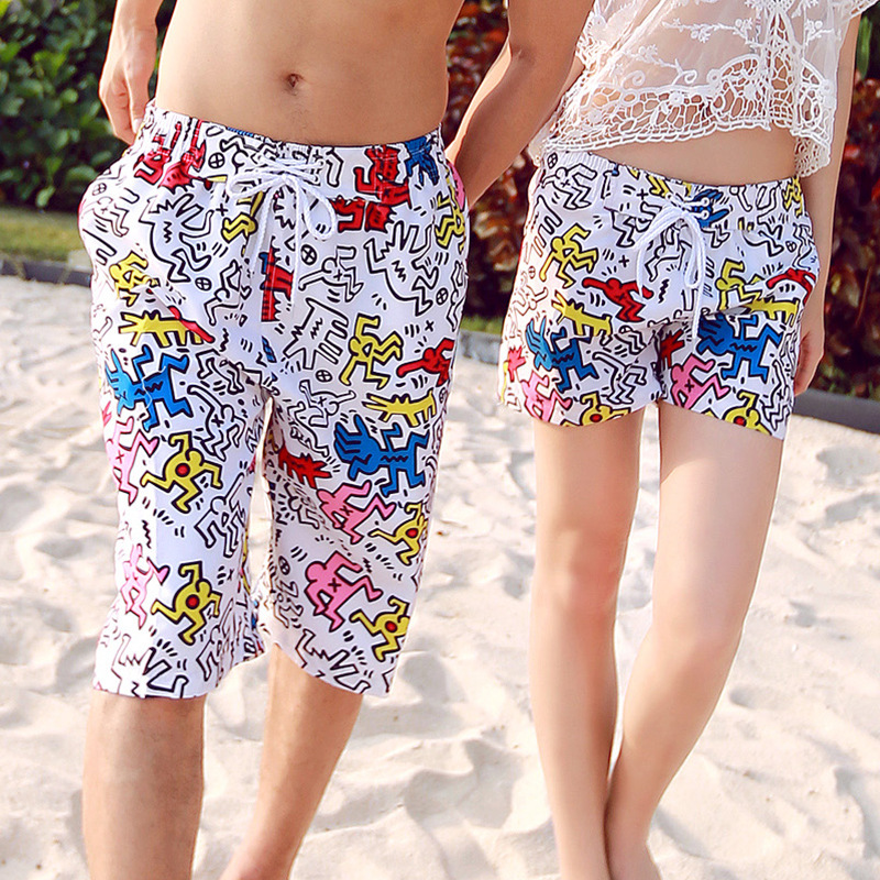 Hot Selling 2015 New Couples Boardshorts Graffiti Quick-Dry Beach Billabong Surf Short Casual Pants Men And Women /Set(China (Mainland))