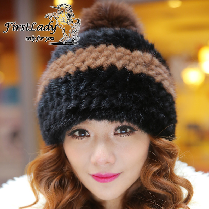 Fashion Real Mink Fur Hat For Russian Women Winter Knitted Mink Fur Beanies Cap With Fox Fur Pom Poms Ball 2015 New Brand(China (Mainland))