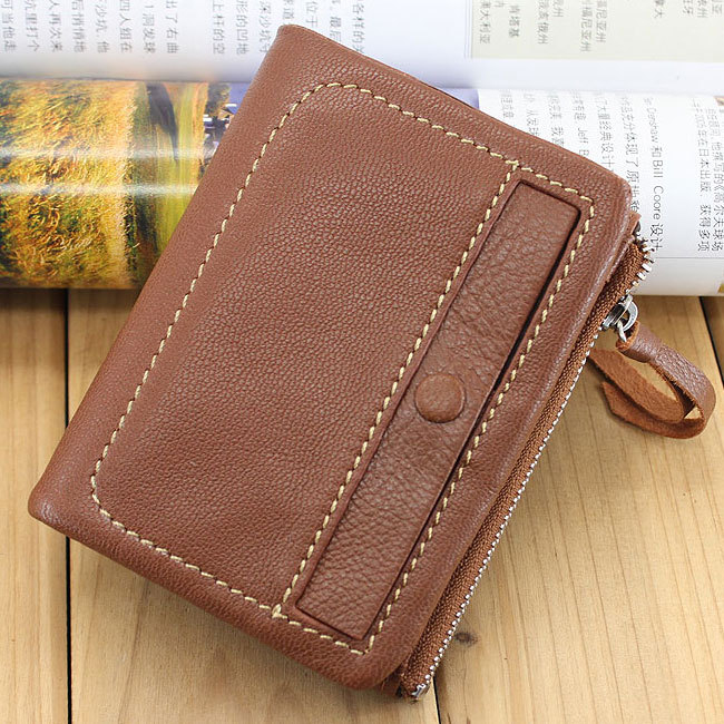 2015 New Sheepskin Wallets Women Genuine Leather Purses Short Small 2 folded Zipper Change Coin Purse Key Wallet - jorunhe store