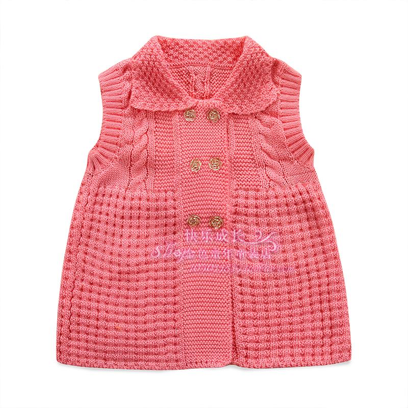 2016 spring and autumn Children's clothing sweater vest girl child small Outerwear & Coats casual sweater Vests & Waistcoats(China (Mainland))