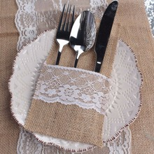 "50Pcs/lot  Vintage  4""x8"" Hessian Burlap Lace Wedding Tableware Pouch Cutlery Holder Decorations Favor(China (Mainland))"