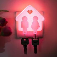 Hot Salling & Fre Shipment Unique Design Creative Love House Design Light Control Room Hallway Night Light Lamp Pink FCI#(China (Mainland))