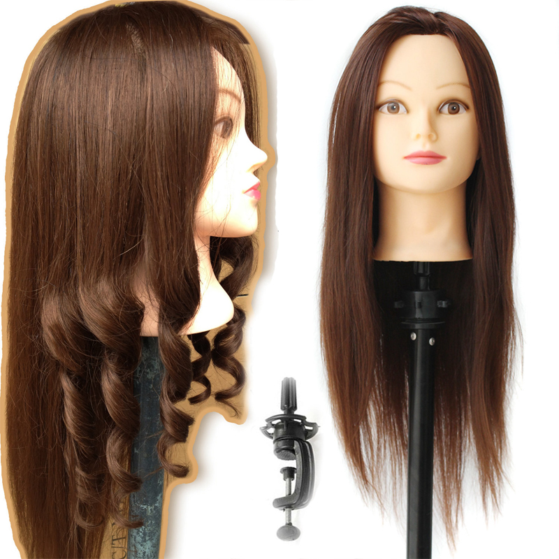 Mannequin Head With Hair 20inch Brown Hair Styling Mannequins 100%Synthetic Hair Cosmetology Training Heads For Practice On Sale(China (Mainland))