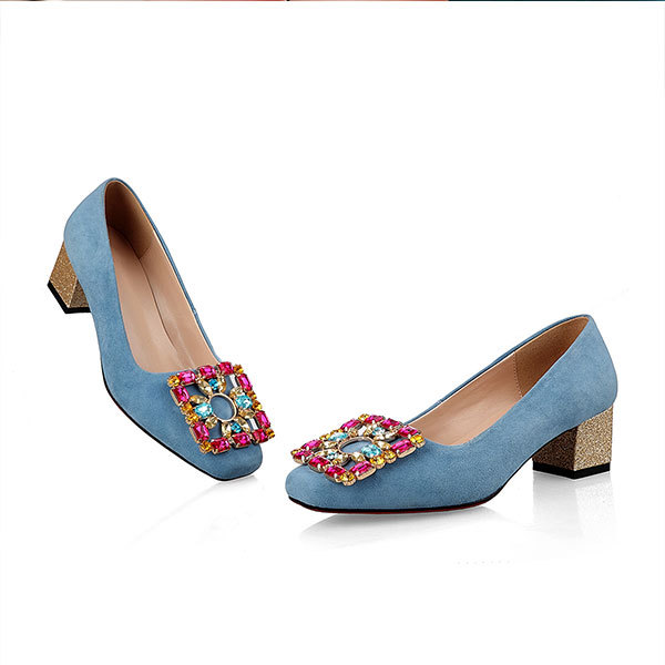 2015 summer square toe rhinestone thick heels fashion solid color buckle high heels breathable and comfortable women shoesD2210<br><br>Aliexpress
