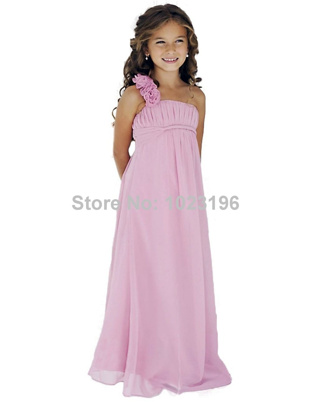 2015 Real Simple Pink Chiffon Long Flower Girl Dresses For Beach Weddings One-Shoulder With Handmade Flowers Cheap Little Girls(China (Mainland))