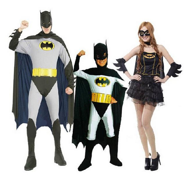 Fiesta de disfraces de Halloween ropa traje de Batman para adultos hombres mujeres niños Batman socio