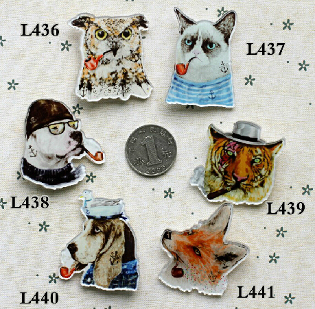 Free shipping new Harajuku Brooch Personalized funny smoking animals tiger cats and dog badge brooch(China (Mainland))