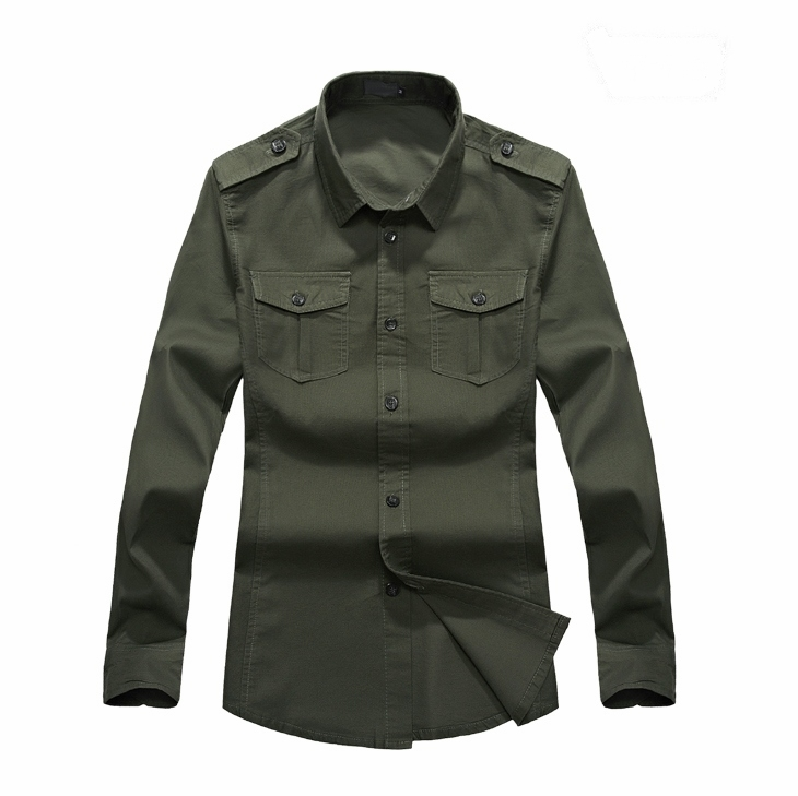 2015 new military cargo style mens long sleeved denim for Mens military style long sleeve shirts