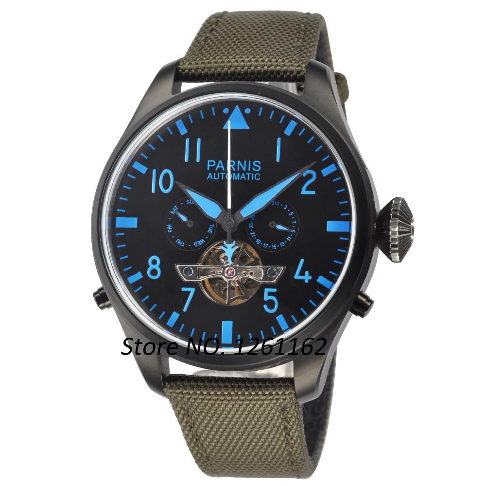 47 мм Парнис Наручные Часы Большой Poilt Стиль Черное PVD Дело Seagull Автоматические мужские Часы PA4713PBL