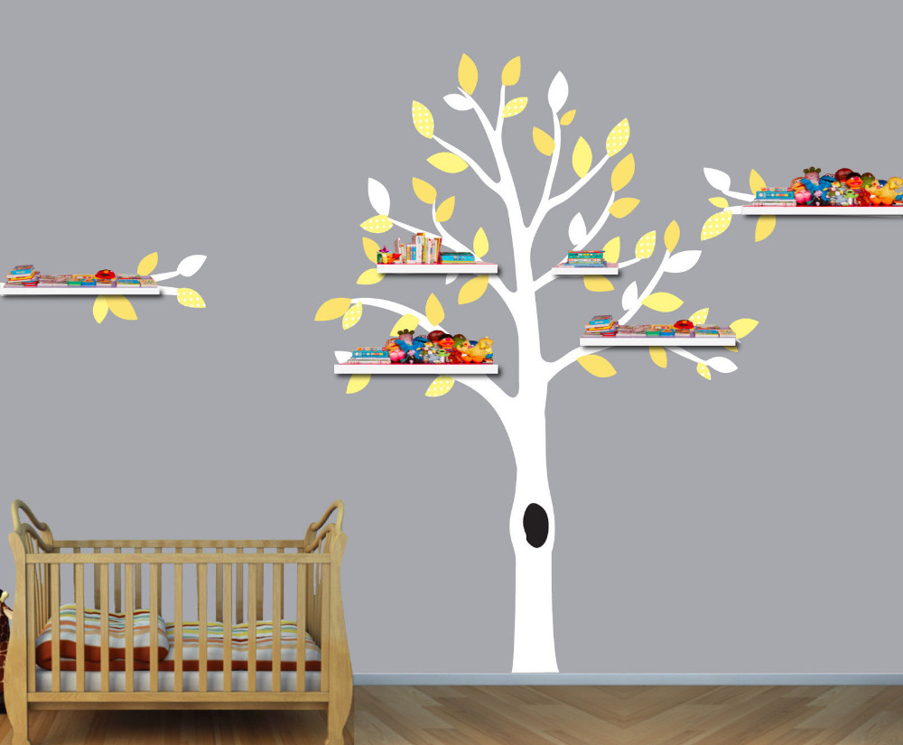 Nursery Tree, Shelf Tree Decals, Boys Room Wall Stickers, Tree Wall Art, Huge Tree White Branch Wall Sticker For Kids Room(China (Mainland))