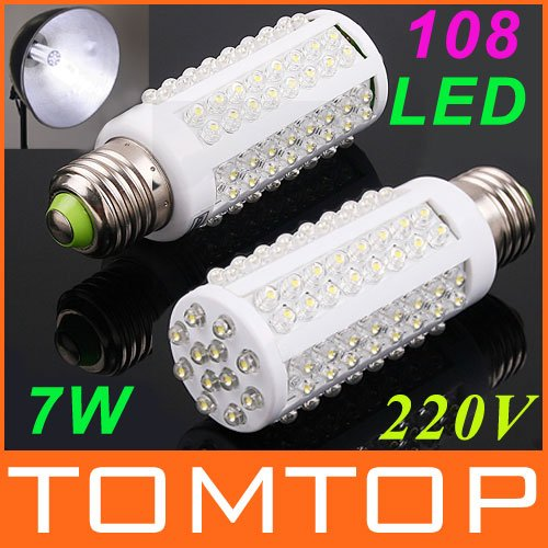 LED bulb e27 led light 220V 7W White Warm White light LED lamp 108 Spot light Energy saving lamps High Bright 360 degree(China (Mainland))