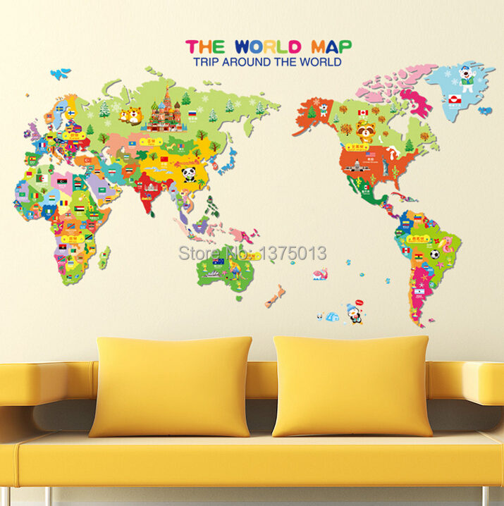 kids bedroom 3d cartoon world map wall sticker removable baby