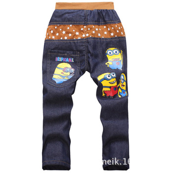2016 spring/autumn fashion minions kids pants girls baby boys jeans children jeans for boys casual denim pants 3-7Y baby clothes
