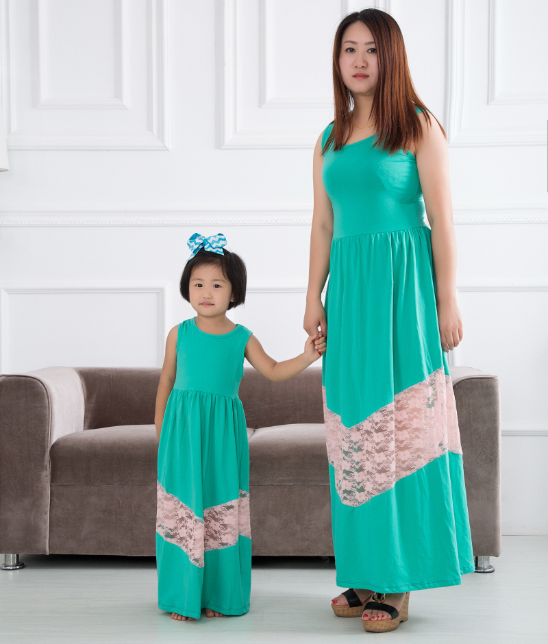 summer style mother daughter dresses family look clothing