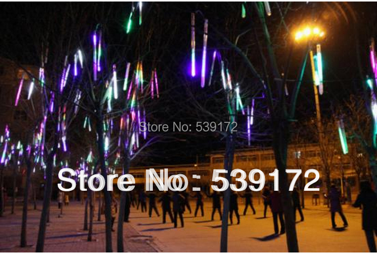 8pcs/set LED meteor light 30LEDs/pc Red color Mini falling star christmas decoration outdoor christmas led FreeShipping by Fedex(China (Mainland))