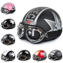 2015 New Vintage Open Face Half Motorcycle Motorbike Helmet & Goggles & Visor Motocross Capacete Moto Helmet Free Shipping(China (Mainland))