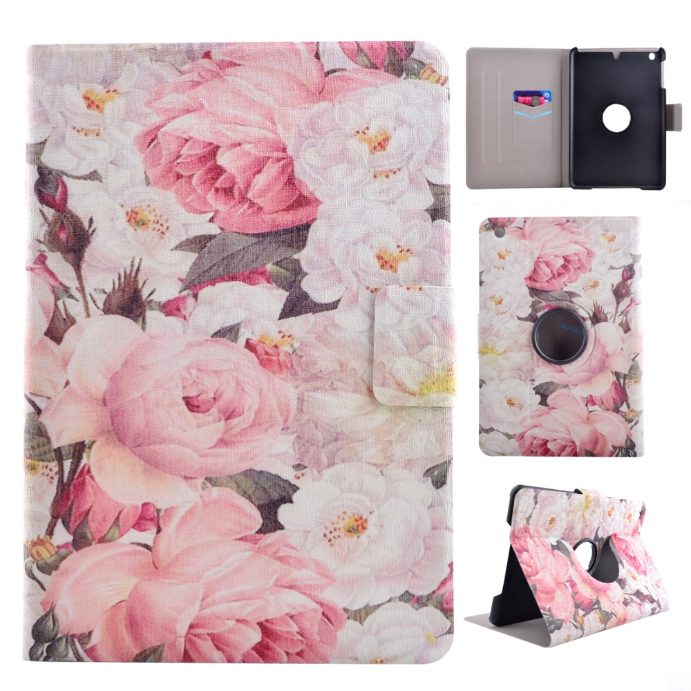 New Embroidery Flower Pu Leather 360 Degree Rotating Case For Ipad Mini intelligent Cover Table Case For Ipad Mini 2 3(China (Mainland))