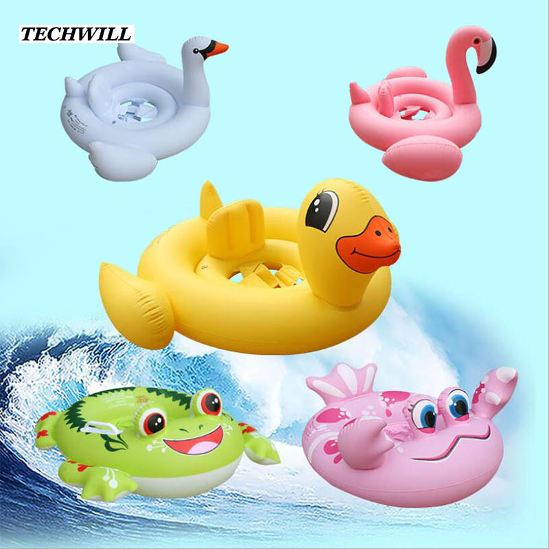 Cute Flamingo Frog Inflatable Ring Kids Bathing Circle Animal Swimming Circle Swimming Pool Accessories For 1- 6 Years Old Baby(China (Mainland))