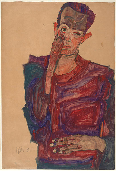 Canvas Art Prints Stretched Framed Giclee World Famous Artist Oil Painting Egon Schiele Self-portrait Eyelid Pulled Down 1910(China (Mainland))