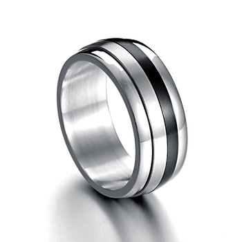 Fashion 316L Stainless steel Ring for Men And Women The lord Of The Rings Center Cool Black 10mm Wide IR106 Men Ring