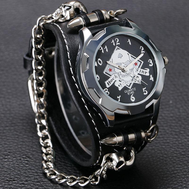 Wrist Watch Skull Bullet Sport Rock Gothic Style Quartz Accessories Punk Trendy Men Cool Analog Stylish Chain(China (Mainland))
