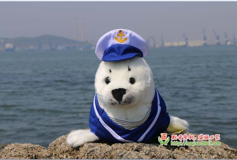 plush seal toy navy dress doll 40cm