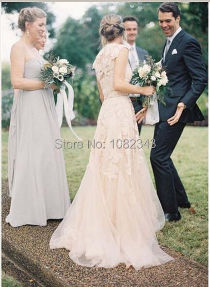 2015 шампанское романтический пляж платья V шеи рукава люкс урожай линия белое кружево ...