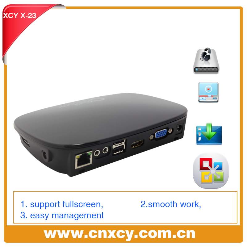 New Arrival!!! Network terminal XCY X-23 Pc sharing with HDMI, VGA,USB*3, RJ45,Power supply port,Switch port thin client(China (Mainland))