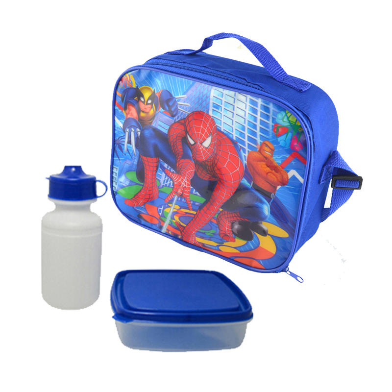 Spiderman bags Cartoon kids lunch bag cooler thermal bag insulated lunch box bag for kids boys with box& bottle back to school(China (Mainland))