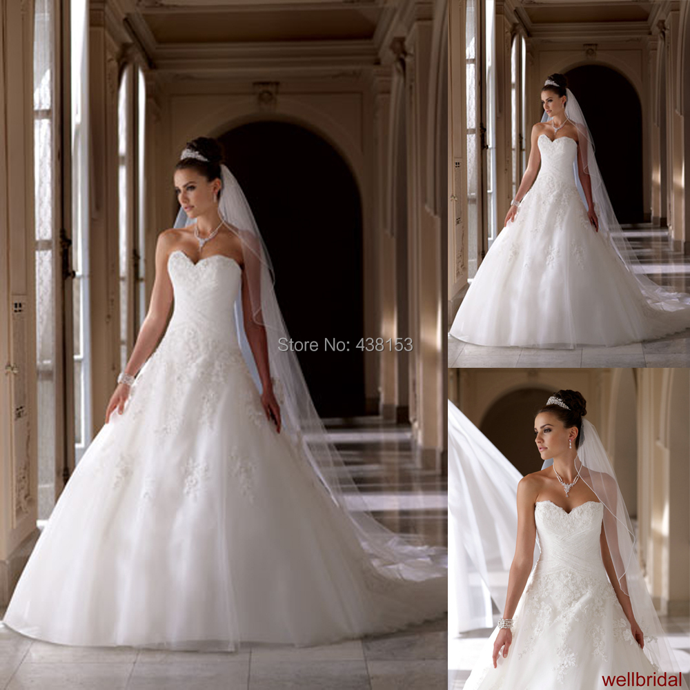 Elegant Women Sweetheart Off the Shoulder Court Train Organza Lace White/Ivory Free Shipping Ball Gown Wedding Dress Custom Size()