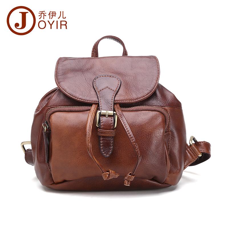 JOYIR 2016 Genuine Leather Vintage Women Small Backpack High Quality Cowhide Women Shoulder Bag Travel Backpack School Bag 8027(China (Mainland))